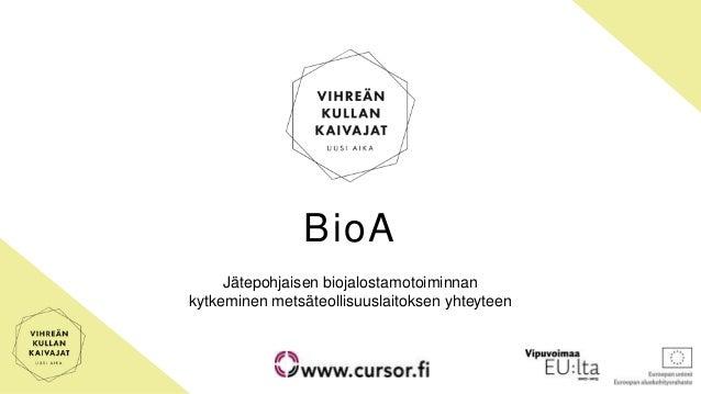 BioA Jätepohjaisen biojalostamotoiminnan kytkeminen metsäteollisuuslaitoksen yhteyteen