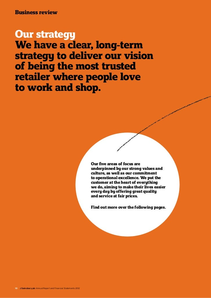 sainsburys business report Business strategy: sainsbury's essay business strategy in the group report, we looked at where we are today and were we will be tomorrow to determine where sainsbury's essay business strategy name institution abstract this paper critically analyses the past and.