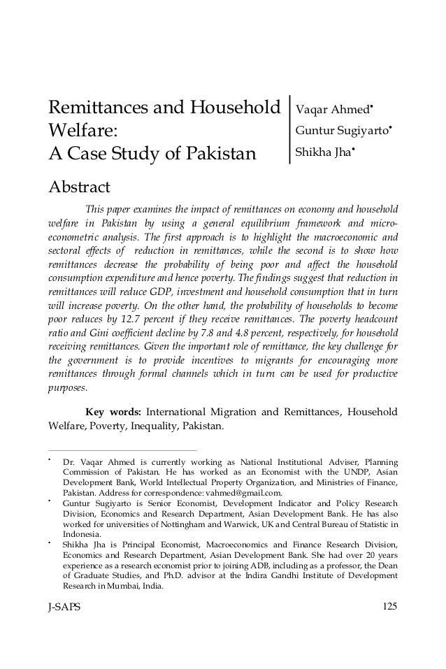 Remittances and Household                                          Vaqar AhmedWelfare:                                   ...