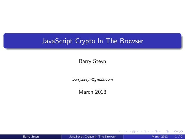 Cryptography In The Browser Using JavaScript