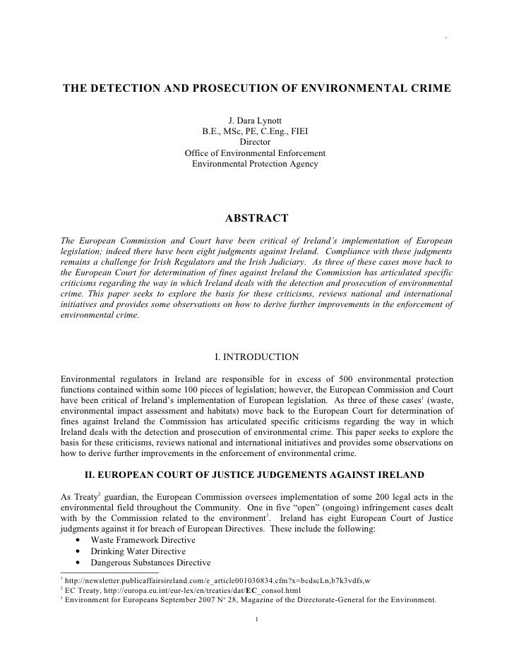 Environmental enforcement and sanction