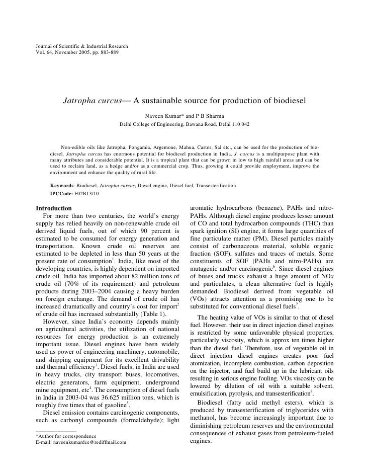 Journal of Scientific & Industrial ResearchVol. 64, November 2005, pp. 883-889            Jatropha curcus A sustainable s...