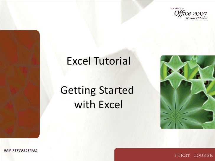 Excel Tutorial Getting Started  with Excel