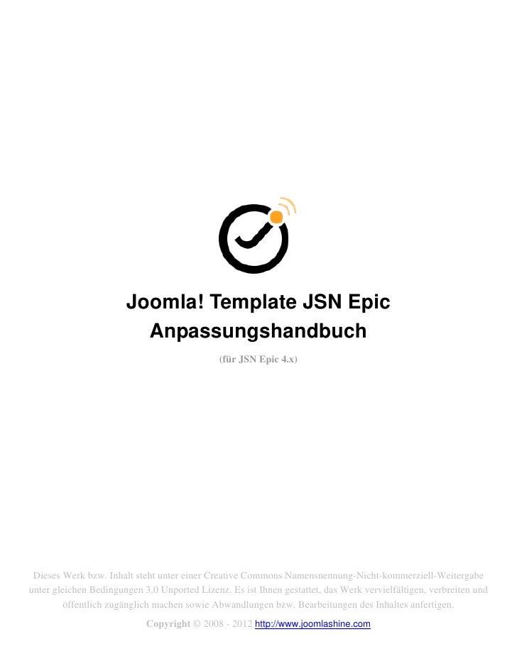 Joomla! Template JSN Epic                         Anpassungshandbuch                                              (für JSN...