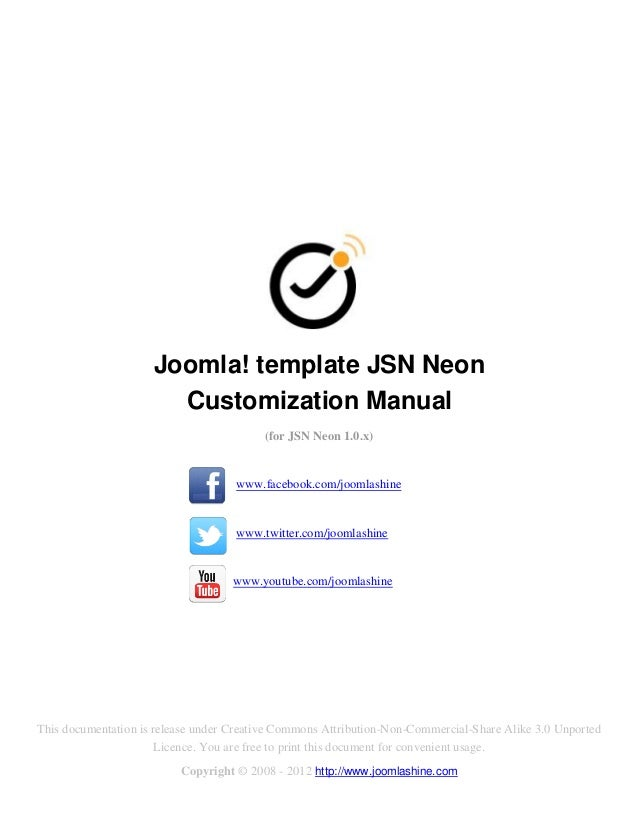 Joomla! template JSN Neon                       Customization Manual                                         (for JSN Neon...