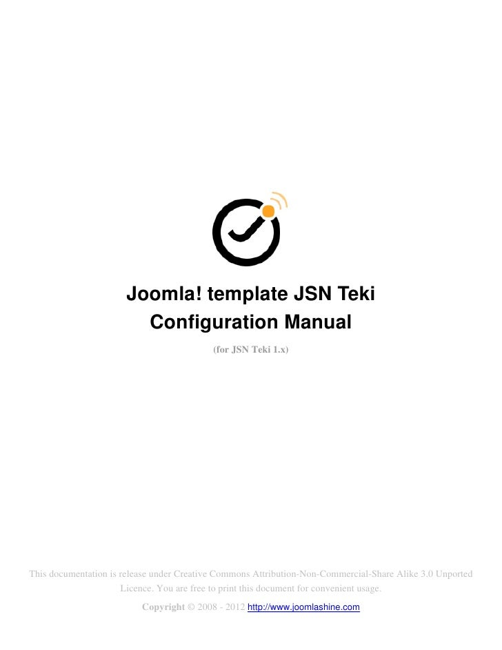 Joomla! template JSN Teki                        Configuration Manual                                           (for JSN T...