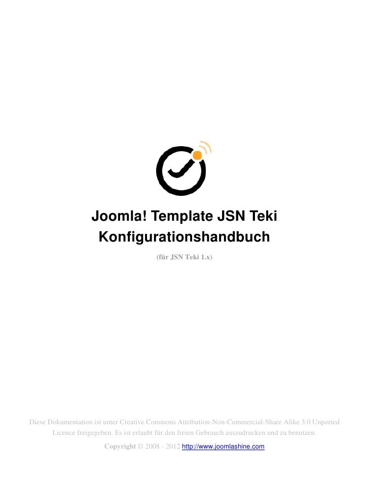 Joomla! Template JSN Teki                    Konfigurationshandbuch                                        (für JSN Teki 1...