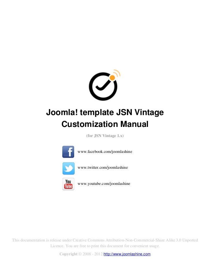 Joomla! template JSN Vintage                      Customization Manual                                         (for JSN Vi...
