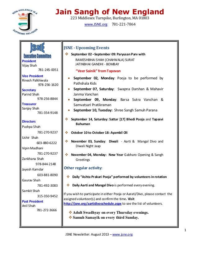 JSNE Paryushan Newsletter 2013