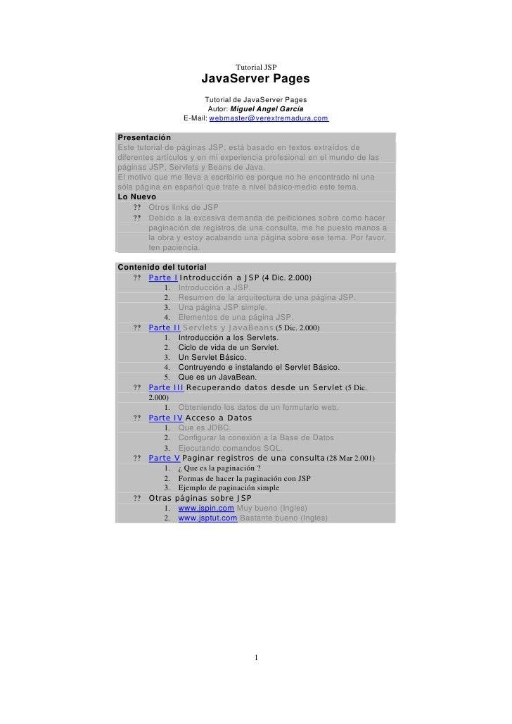 Tutorial JSP                       JavaServer Pages                        Tutorial de JavaServer Pages                   ...