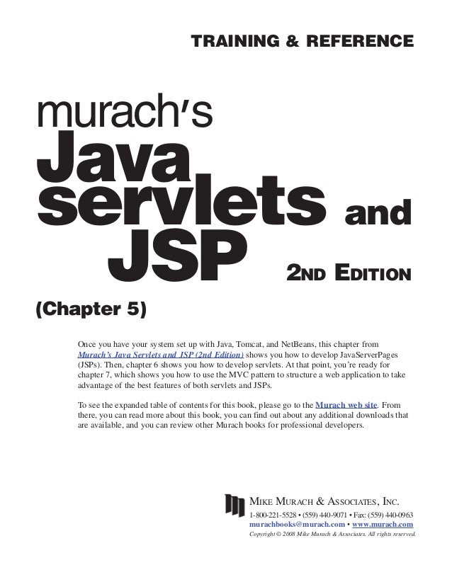 i                                    TRAINING & REFERENCEmurach'sJavaservlets and  JSP(Chapter 5)                         ...