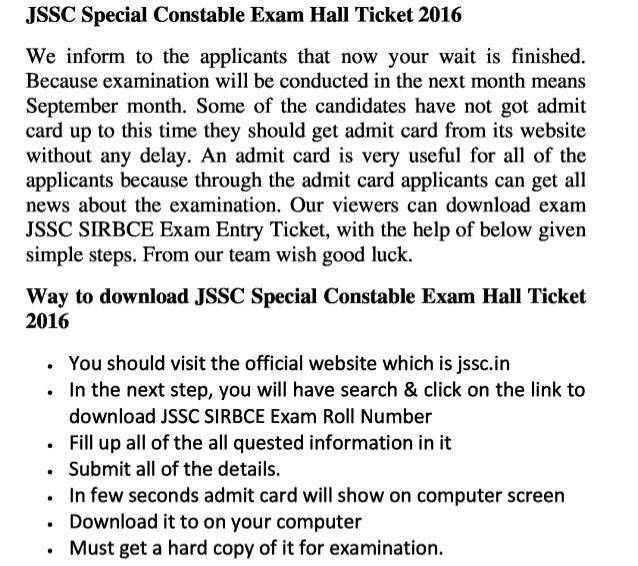 Jssc sirbce 2016 exam admit card download special constable jobs hall ticket and result