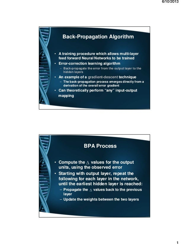 66//1010//20132013 Back-Propagation Algorithm • A training procedure which allows multi-layer feed forward Neural Networks...