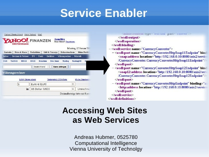 Service Enabler     Accessing Web Sites   as Web Services    Andreas Hubmer, 0525780    Computational Intelligence  Vienna...
