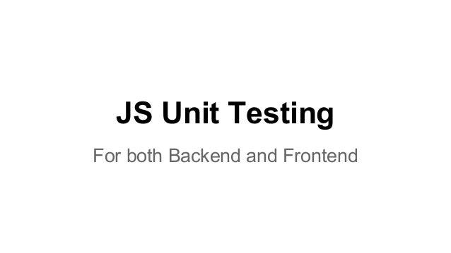 Testing in JavaScript