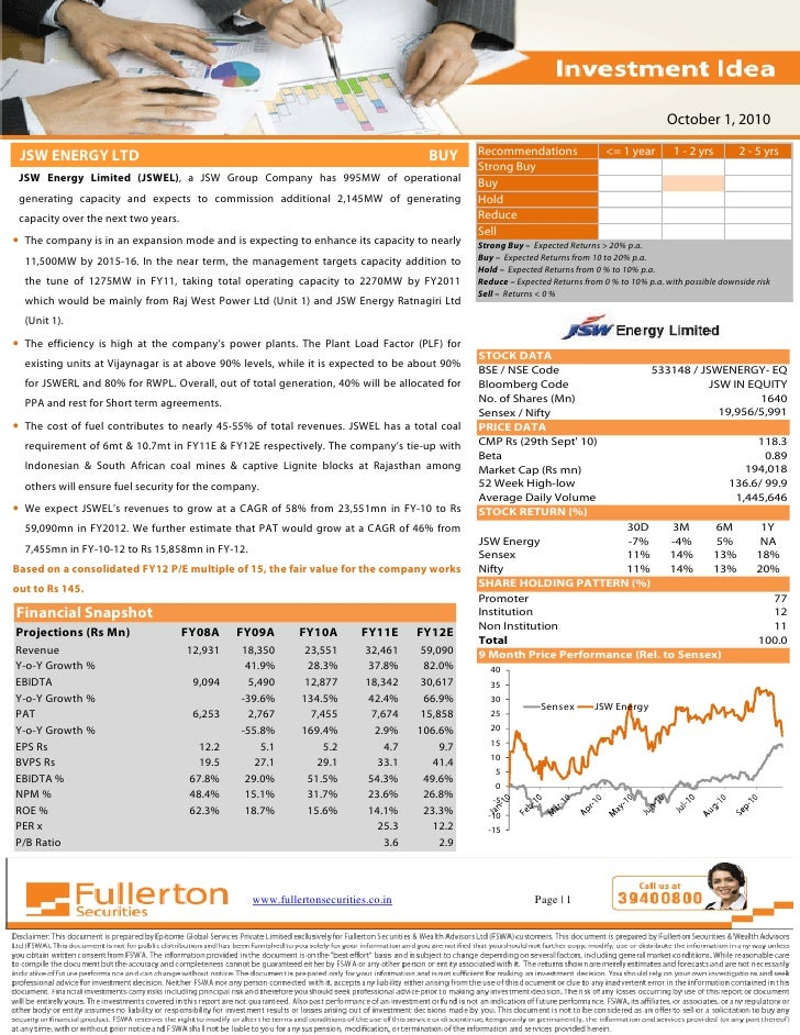 "Investment Idea  - JSW Energy Limited (JSWEL) : Recommended as ""BUY"""
