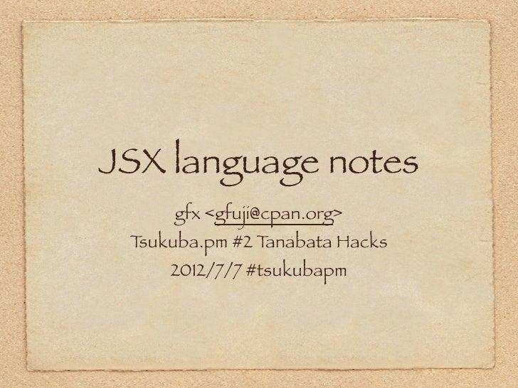 Jsx language-notes