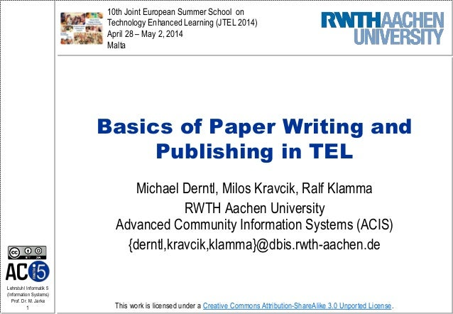 Basics of Paper Writing and Publishing in TEL (JTEL 2014 Workshop)