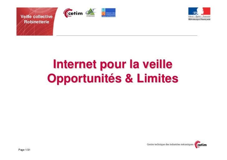Veille collective  Robinetterie                Internet pour la veille               Opportunités & LimitesPage 1/31