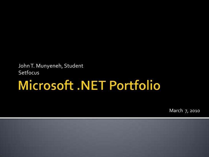Microsoft.NET  Portfolio