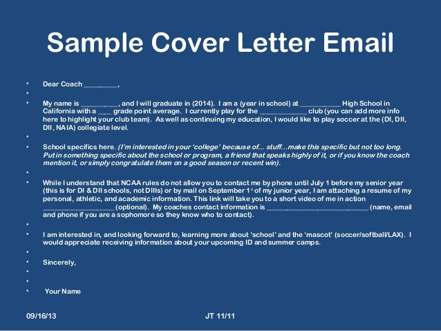 Sample Cover Letter To College Soccer Coach Search Results For ...