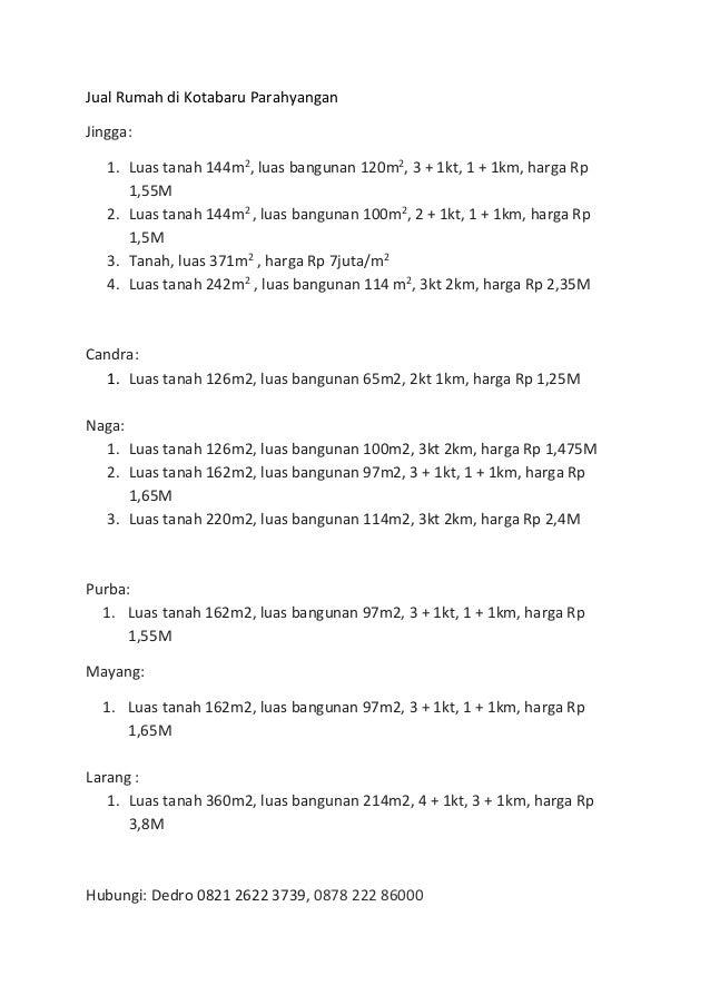 Jual Rumah di Kotabaru Parahyangan Jingga: 1. Luas tanah 144m2 , luas bangunan 120m2 , 3 + 1kt, 1 + 1km, harga Rp 1,55M 2....