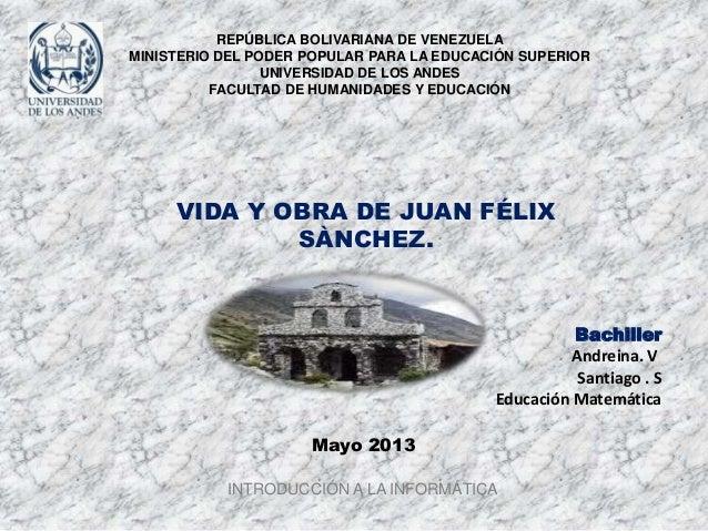 REPÚBLICA BOLIVARIANA DE VENEZUELA MINISTERIO DEL PODER POPULAR PARA LA EDUCACIÓN SUPERIOR UNIVERSIDAD DE LOS ANDES FACULT...