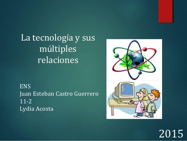 La tecnología y sus múltiples relaciones ENS Juan Esteban Castro Guerrero 11-2 Lydia Acosta 2015