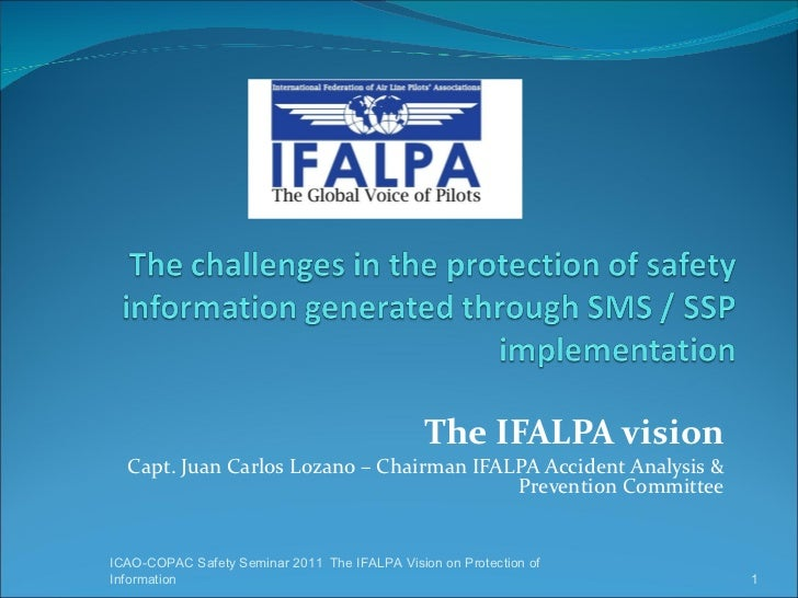 The IFALPA vision Capt. Juan Carlos Lozano – Chairman IFALPA Accident Analysis & Prevention Committee ICAO-COPAC Safety Se...