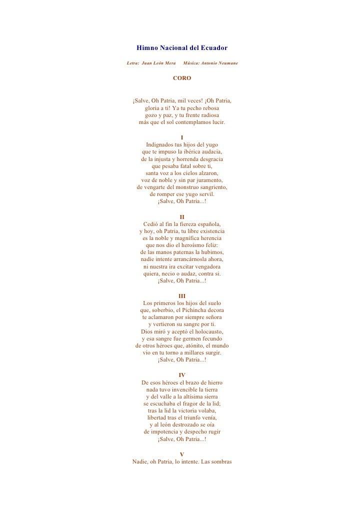 Himno Nacional Espana Himno Nacional Del Ecuador
