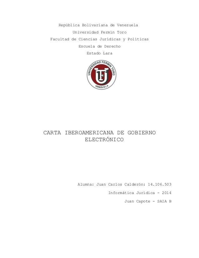 República Bolivariana de Venezuela Universidad Fermín Toro Facultad de Ciencias Jurídicas y Políticas Escuela de Derecho E...