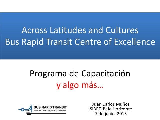 Across Latitudes and CulturesBus Rapid Transit Centre of ExcellenceJuan Carlos MuñozSIBRT, Belo Horizonte7 de junio, 2013P...