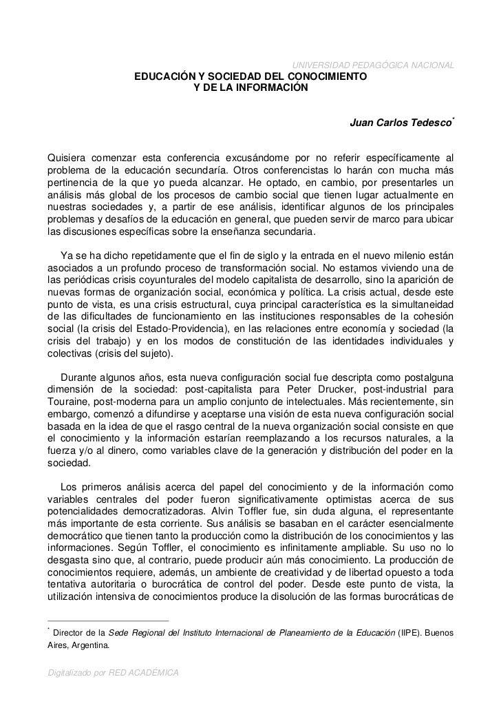 UNIVERSIDAD PEDAGÓGICA NACIONAL                      EDUCACIÓN Y SOCIEDAD DEL CONOCIMIENTO                               Y...