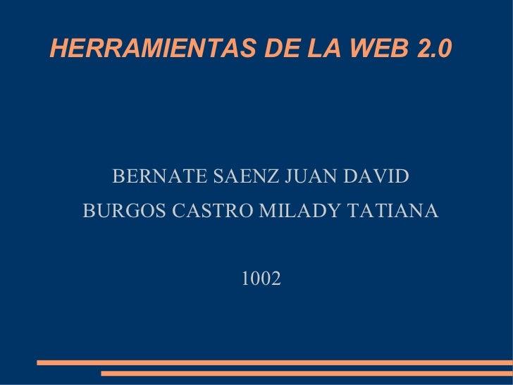 HERRAMIENTAS DE LA WEB 2.0 BERNATE SAENZ JUAN DAVID BURGOS CASTRO MILADY TATIANA 1002