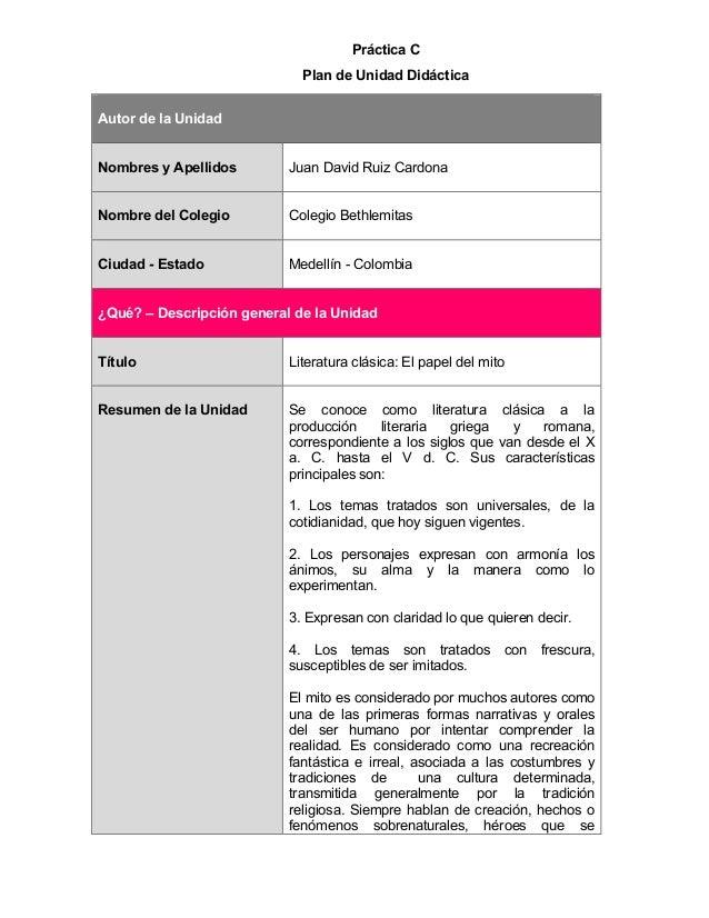 Práctica C  Plan de Unidad Didáctica  Autor de la Unidad  Nombres y Apellidos  Juan David Ruiz Cardona  Nombre del Colegio...