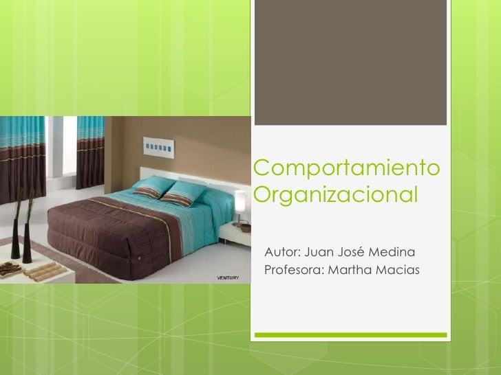 ComportamientoOrganizacional <br />Autor: Juan José Medina<br />Profesora: Martha Macias<br />