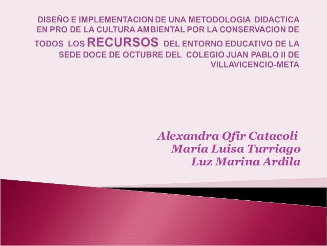Alexandra Ofir Catacoli María Luisa Turriago Luz Marina Ardila