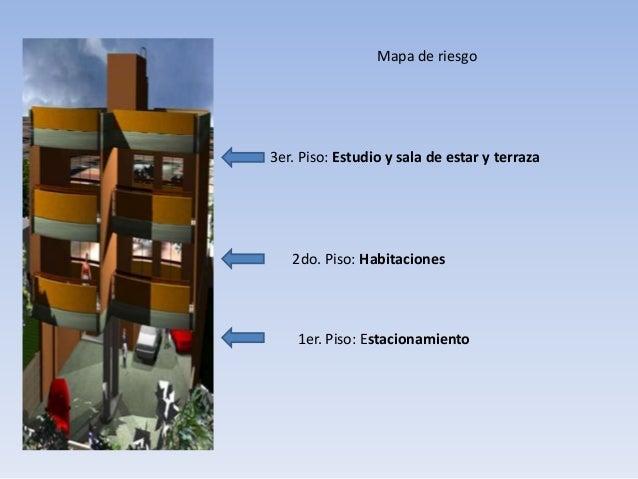 3er. Piso: Estudio y sala de estar y terraza 2do. Piso: Habitaciones 1er. Piso: Estacionamiento Mapa de riesgo