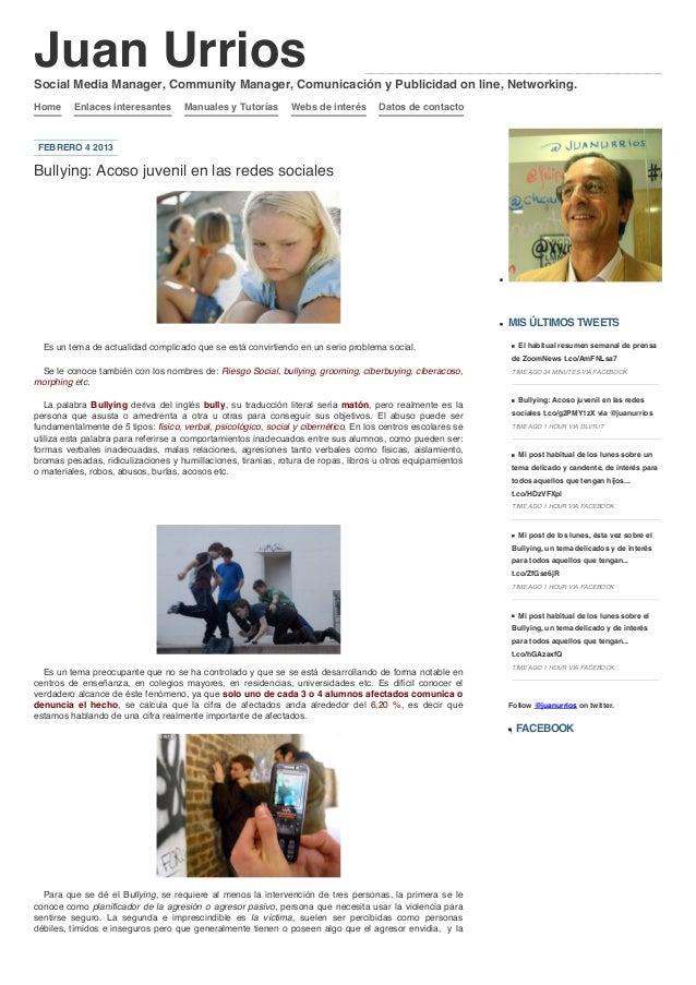Juan urrios » bullying: acoso juvenil en las redes sociales