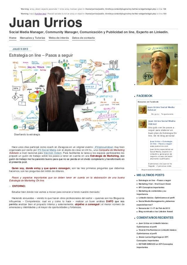 Juan Urrios Home Manuales y Tutorías Webs de interés Datos de contacto JULIO 9 2013 Estrategia on line – Pasos a seguir Di...