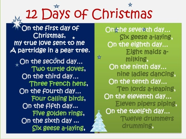 12 Days of Christmas   On the first day of        On the seventh day…       Christmas,                  Six geese a-laying...