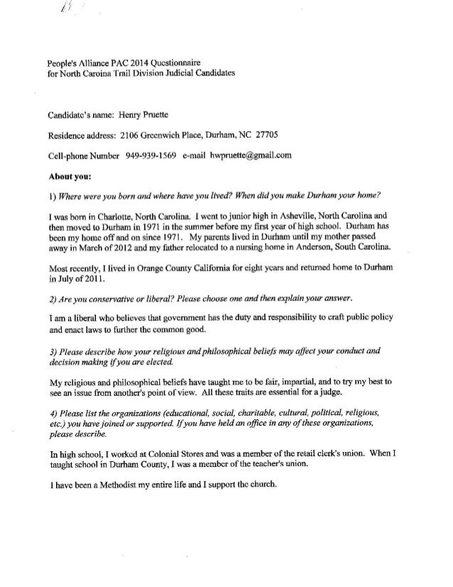 Henry Pruette 2014 PA-PAC Questionnaire