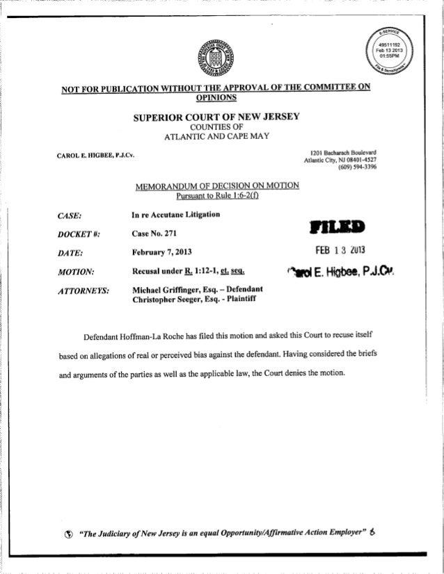 Judge Carol Higbee Recusal Order (Recuse)