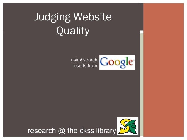 Judging Website Quality
