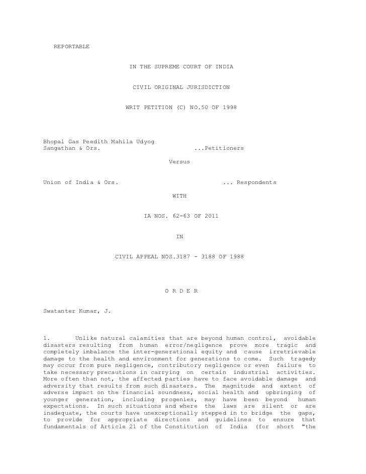 REPORTABLE                         IN THE SUPREME COURT OF INDIA                          CIVIL ORIGINAL JURISDICTION     ...