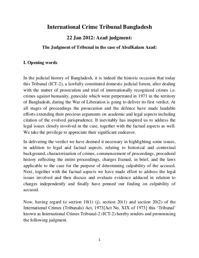 International Crime Tribunal Bangladesh                        22 Jan 2012: Azad judgment:          The Judgment of Tribun...