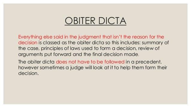 ratio decidendi and obiter dicta
