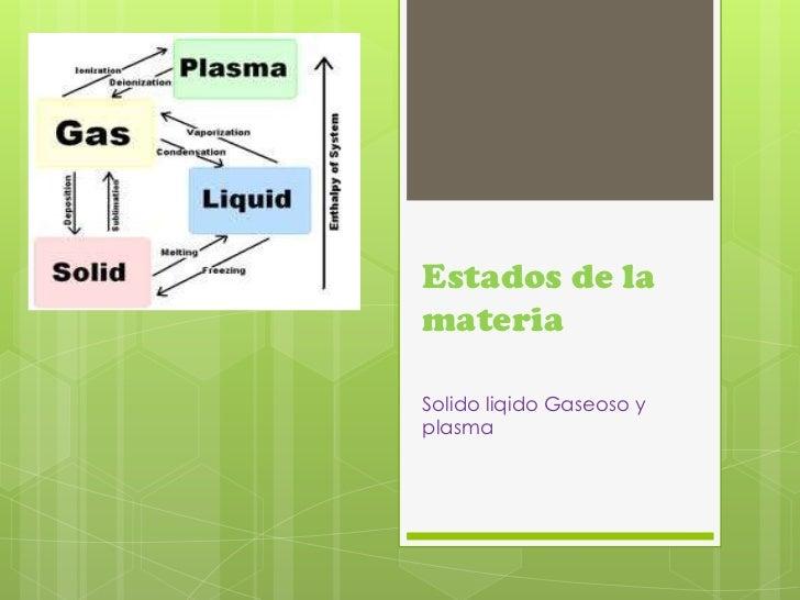 Estados de la materia<br />Solido liqido Gaseoso y plasma<br />