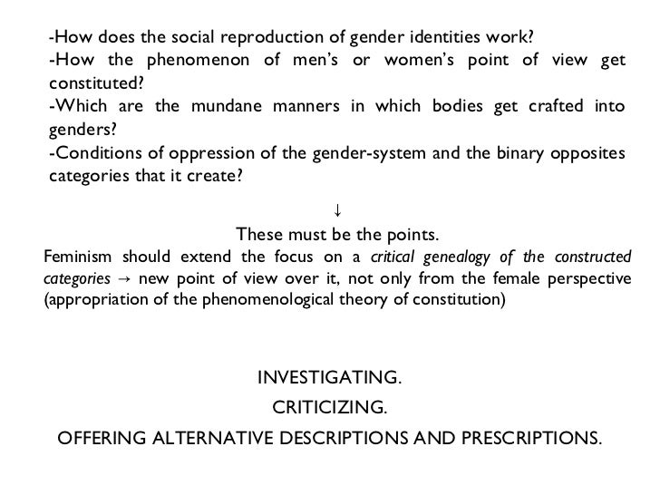 an essay in phenomenology and feminist theory Politics implied in much contemporary feminist theory into question, butler's   ―performative acts and gender constitution: an essay in phenomenology and.
