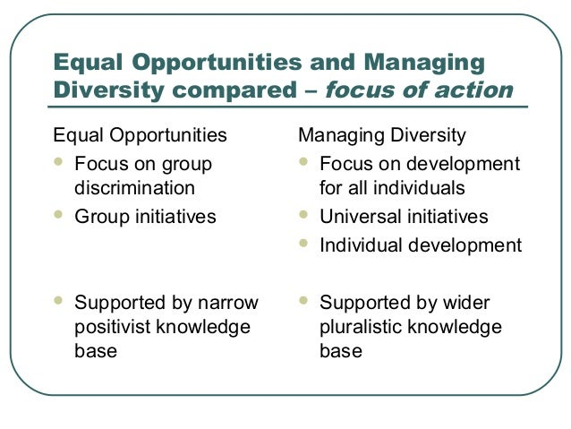 equal opportunities and managing diversity approaches social work essay Pointers when developing a diversity and equality approach recognise and work with diversity and equality issues and equality guidelines for childcare.